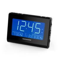 Magnasonic Alarm Clock Radio with USB Charging for Smartphones, Auto Dimming, Dual Gradual Wake Alarm, Battery Backup