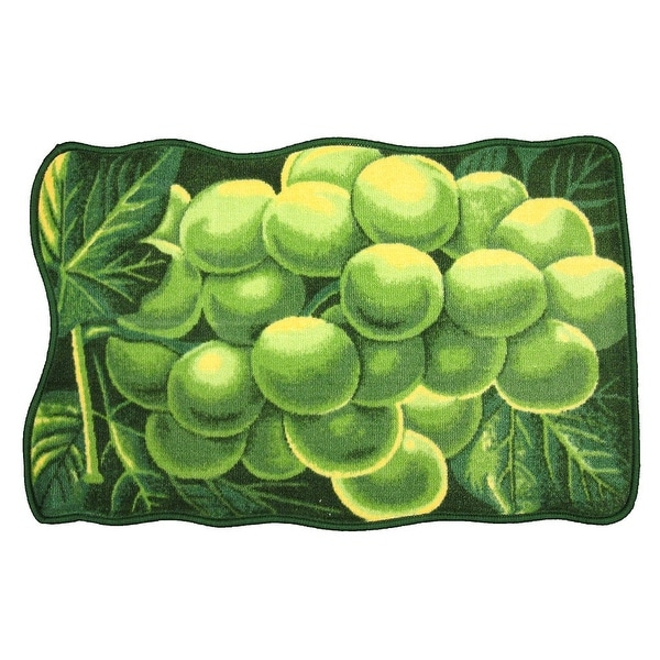 Green Grape Printed Non-Slip Kitchen Mat, 18x30 Inches