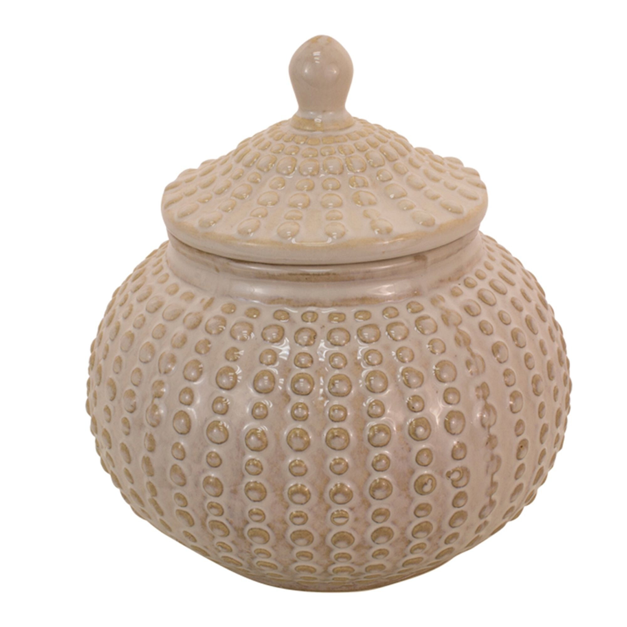 9 Beige Cookie Jar With Dotted Design On Sale Overstock 31711307