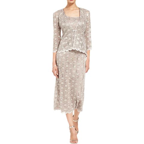 R & M Richards Womens Dress With Jacket 2PC Lace