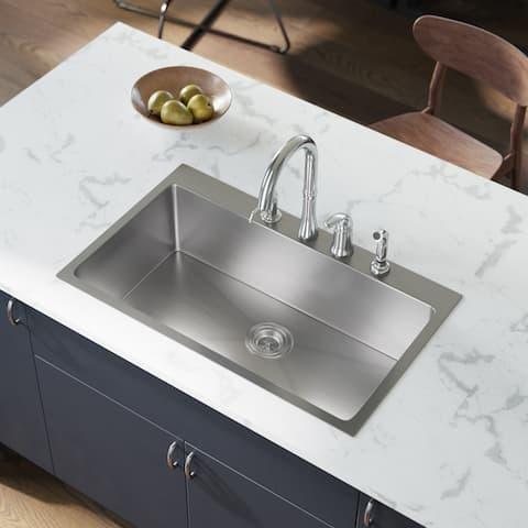 MR Direct T3120S Topmount Single Bowl 3/4-Inch Radius Kitchen Sink