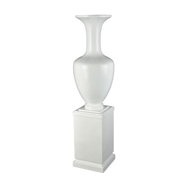 "59"" White Fiberglass with Rectangular Base Trieste Vase - N/A"