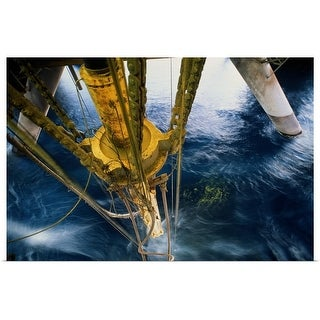 Poster Print entitled Oil rig drilling pipe at surface of water - Multi-color