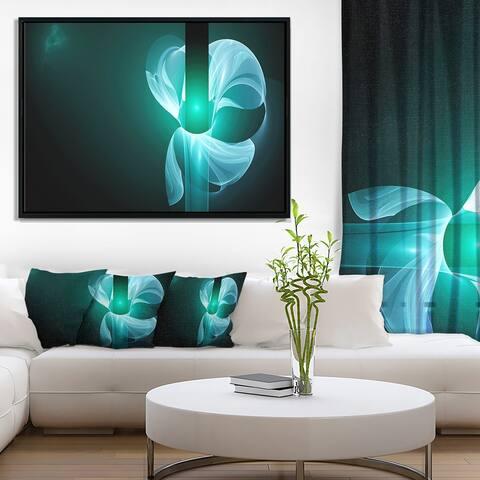 Designart 'Blue Flower Fractal Illustration' Abstract Framed Canvas Art Print