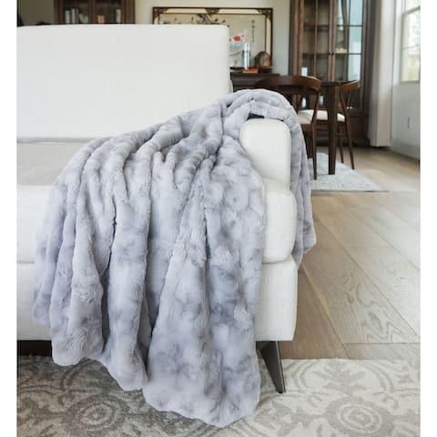 "Millihome Jackson Silver Faux Fur Throw Blanket 50""x60"""