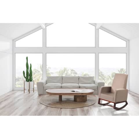 Modern Solid Wood Rocking Chair with Padded seat and Arm, Beige