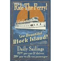 Block Island RI Ferry Ride Vintage Sign LP Artwork (Art Print - Multiple Sizes)