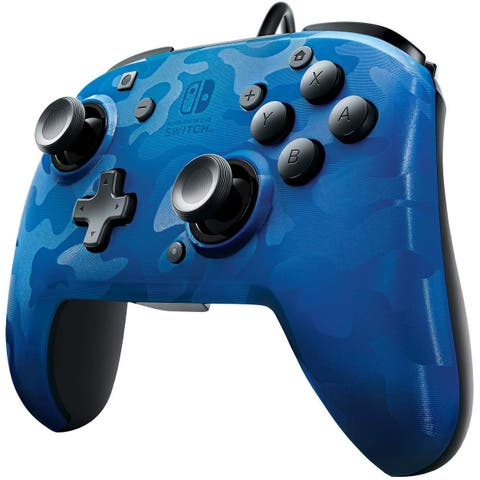 PDP Nintendo Switch Faceoff Blue Camo Wired Pro Controller - 5.4 x 6 x 2.6
