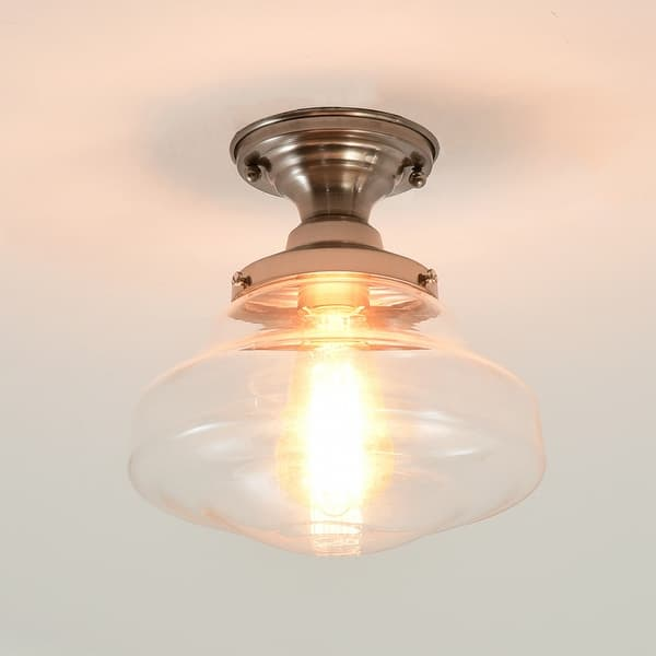 Satin Nickel Semi Flush Mount Ceiling Light With Clear Glass Satin Nickel Overstock 31799406