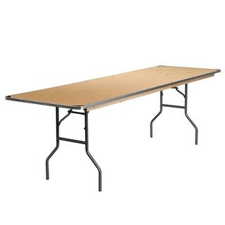 Offex 30'' x 96'' Rectangular Heavy Duty Birchwood Folding Banquet Table with Metal Edges and Protective Corner Guards