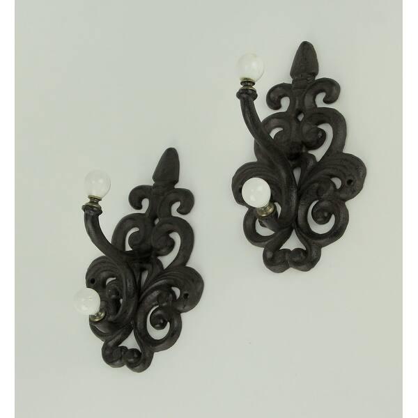 Fleur De Lis Towel Coat Hooks Cast Iron Set of 2 Black Antiqued Brown Wall Mount