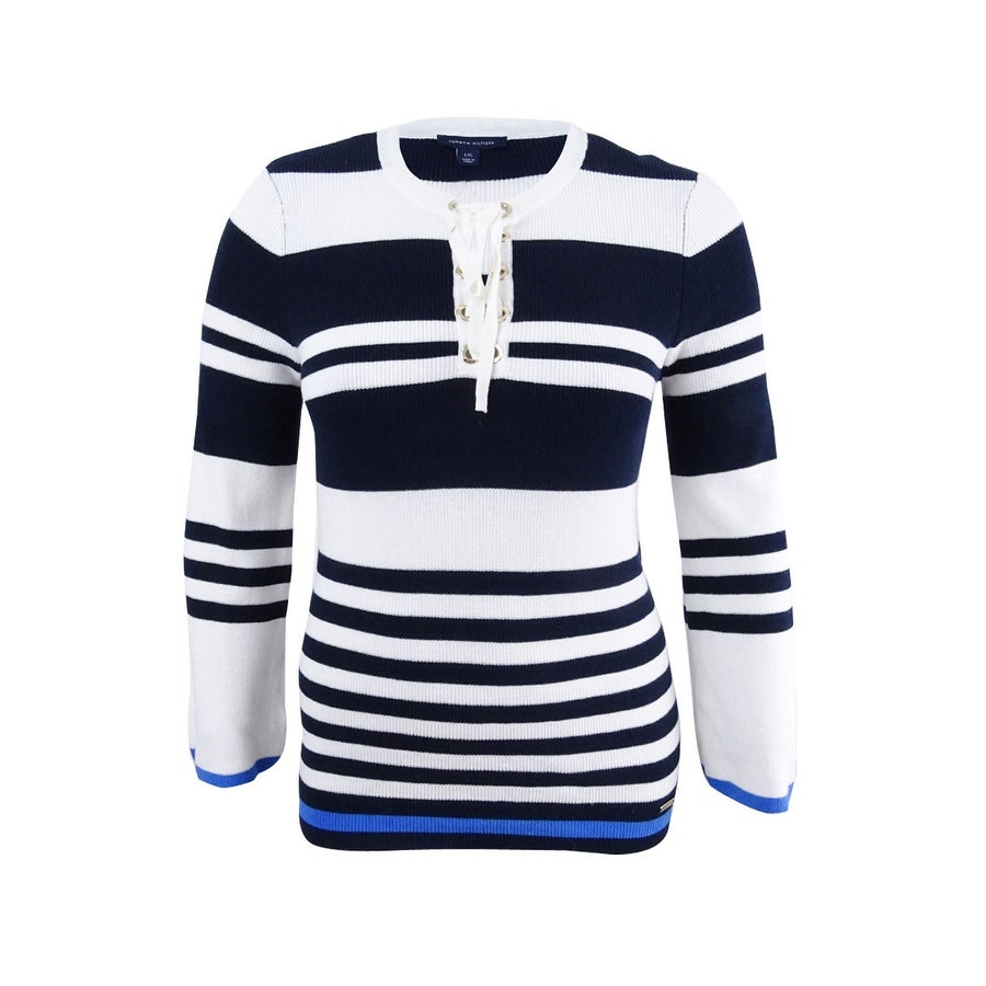 Tommy Hilfiger Womens Cotton Lace-Up Sweater - Sky Captain Multi