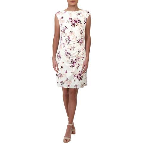 Lauren Ralph Lauren Womens Petites Novellina Party Dress Floral Print Mini - Cream/Purple