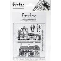 """Crafty Individuals Unmounted Rubber Stamp 3.75""""X5.5"""" Pkg-The Village Inn & Church"""