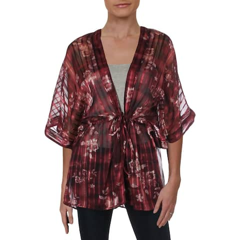 BCBGeneration Womens Kimono Floral Tie-Waist - O/S