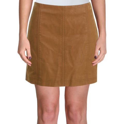 Free People Womens Modern Femme Mini Skirt Faux Leather Vegan