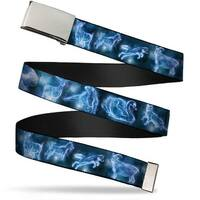 Blank Chrome Bo Buckle Harry Potter Animal Spirits Black Blue Webbing Web Belt