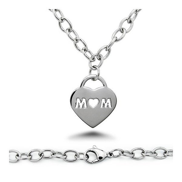 MOM Cut-out Heart Tag Stainless Steel Necklace - 18 inches