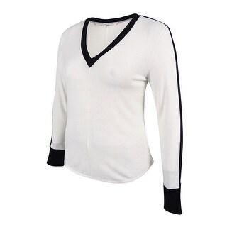 RACHEL Rachel Roy Women's V-Neck Long Sleeve Sweater - Winter White - xL