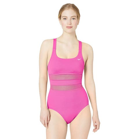 Nike Swim Women's Mesh Solid Edge V-Back One Piece, Laser Fuchsia, Size Small