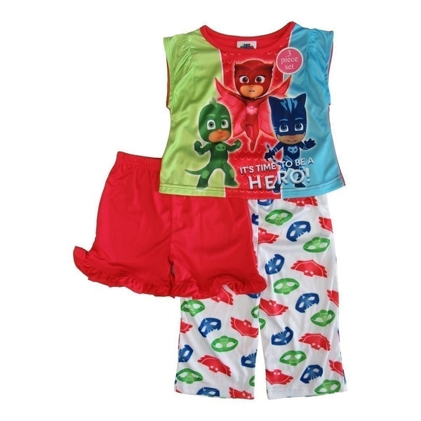 Great Disney Little Toddler Girls Red Green Blue Pj Mask Short Sleeve 3Pc Pajamas