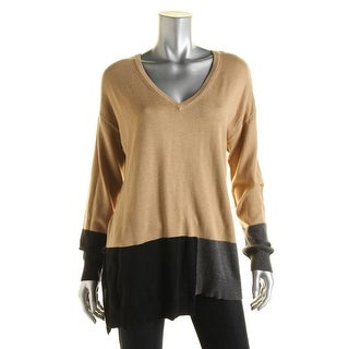 Vince Camuto Womens Modal Blend Colorblock Pullover Sweater