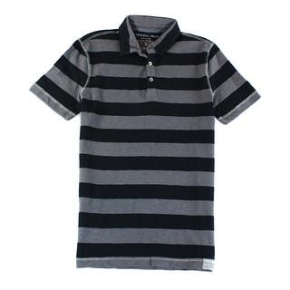 CALVIN KLEIN JEANS NEW Black Grey Men Medium M Stripe Polo Rugby Shirt