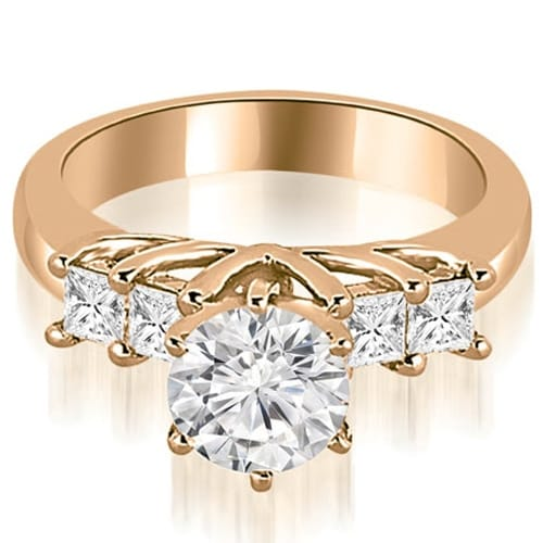 1.40 cttw. 14K Rose Gold Princess and Round Cut Diamond Engagement Ring