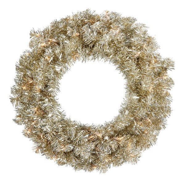 """30"""" Pre-Lit Sparkling Champagne Tinsel Artificial Christmas Wreath -Clear Lights - GOLD"""