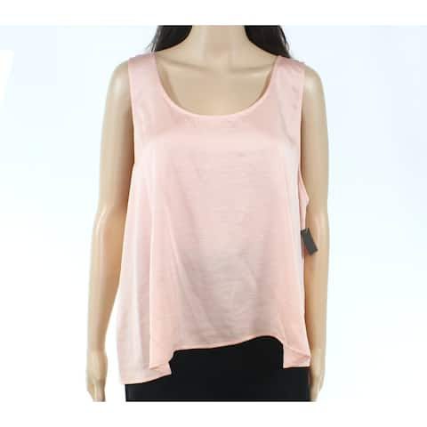 Free Press Womens Rose Pink Size XL Scoop Neck Charmeuse Solid Tank Top 158