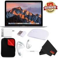 """Apple 12"""" MacBook (Mid 2017 Silver) 256GB SSD (#MNYH2LL/A) + MicroFiber Cloth + Padded Case For Macbook Bundle"""