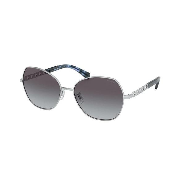 Coach HC7112 90018G 56 Shiny Silver Woman Irregular Sunglasses. Opens flyout.