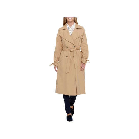 Tommy Hilfiger Womens Trench Coat Fall Double Breasted Tan M