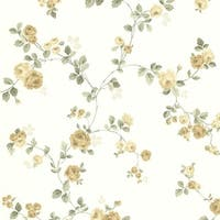 Brewster 344-68731 Cornelia Yellow Rose Trail Wallpaper - N/A