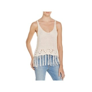 PPLA Womens Dia Tank Top Sweater Fringe U-Neck