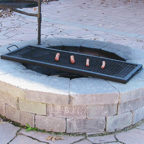Sunnydaze X Marks Heavy-Duty Steel Rectangle Fire Pit Cooking Grill - 36-Inch - Black