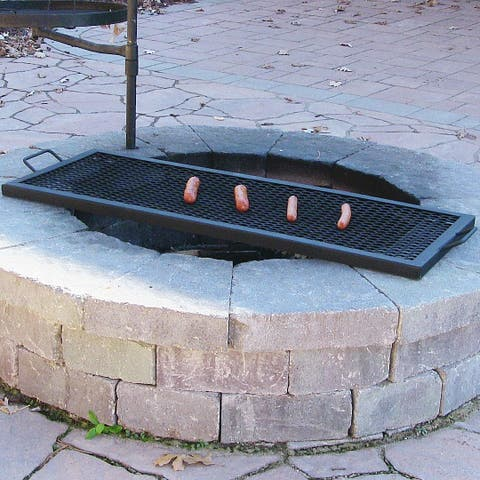 Sunnydaze X Marks Heavy-Duty Steel Rectangle Fire Pit Cooking Grill - 40-Inch - Black Black