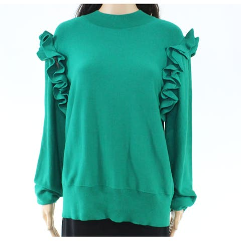 Halogen Womens Sweater Green Size XL Mock Neck Detachable-Sleeve