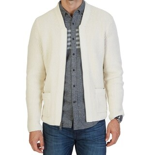 Nautica NEW White Ivory Mens Size Large L Full Zip Pocket-Front Sweater