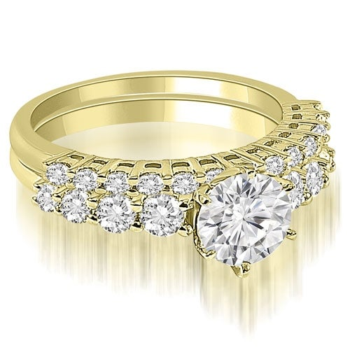 1.90 cttw. 14K Yellow Gold Round Cut Diamond Bridal Set