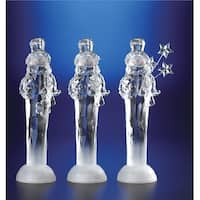 Pack of 6 Icy Crystal Illuminated Christmas Snowmen with Gift Figurines 11.5""