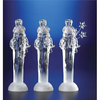 """Pack of 6 Icy Crystal Illuminated Christmas Snowmen with Gift Figurines 11.5"""""""