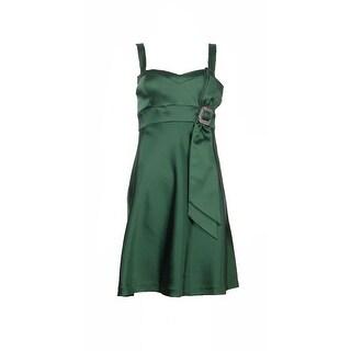 Aidan Mattox Niteline Stretch Satin Party Dress Cypress