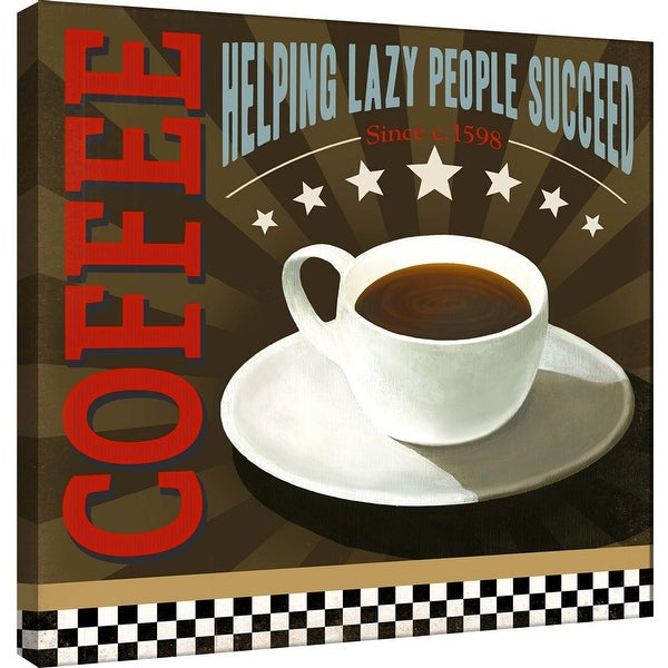 """PTM Images 9-100011 PTM Canvas Collection 12"""" x 12"""" - """"Lazy People"""" Giclee Coffee Art Print on Canvas"""