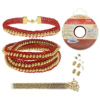 Refill - Beaded Flat Kumihimo Bracelet Set - Red/Gold - Exclusive Beadaholique Jewelry Kit