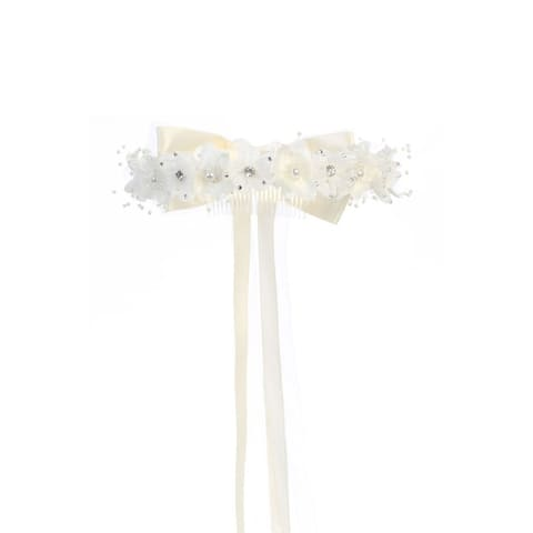 Kids Dream Ivory Floral Pearl Rhineston Bow Crown - One Size