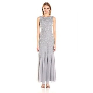 Adrianna Papell Women's Boat Neck Gown with Pearl Beads, Silver Grey, 4 - Silver Grey