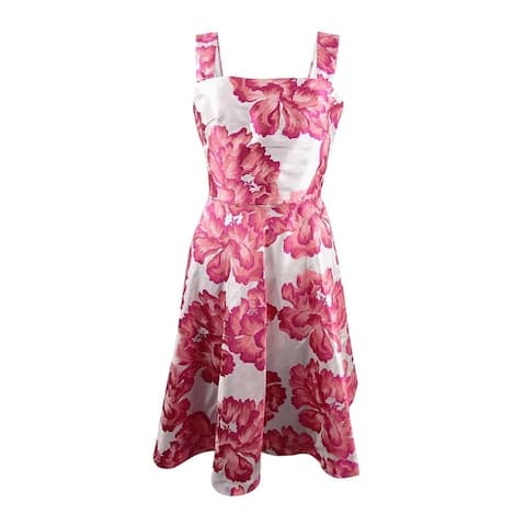 Betsey Johnson Women's Floral Jacquard Fit & Flare Dress - Pink/Silver