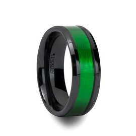 IRVING Beveled Black Ceramic Ring with Textured Green Inlay 8mm