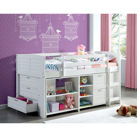 Furniture of America Sosa White Loft Bed with Multiple Storage